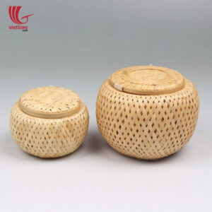 Weaving Bamboo Tea Storage Basket Set Of 2