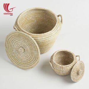 Some Sets Of Seagrass Storage Basket With Lid