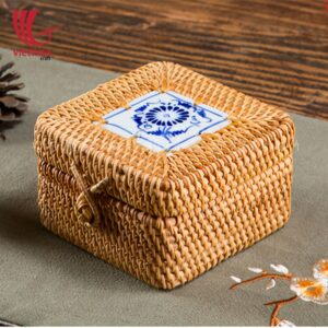 Decorative Small Square Rattan Candy Box