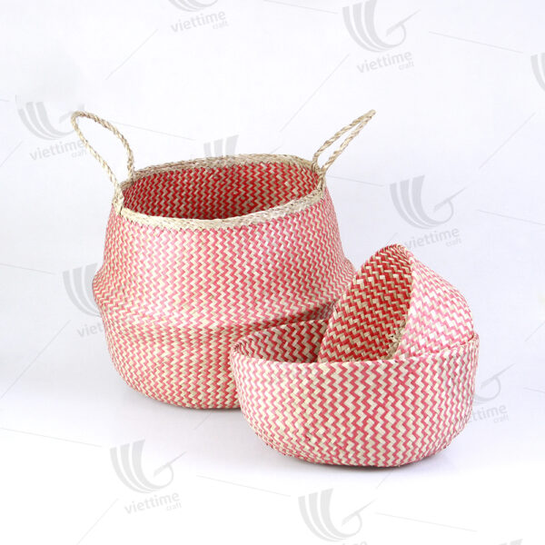 Red ZigZag Seagrass Belly Basket Set Of 3