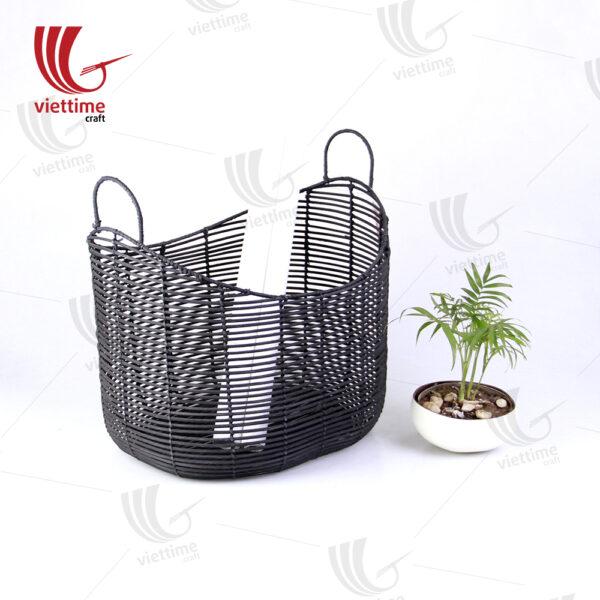 Black Rattan Storage Basket With Handle
