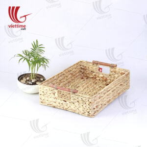 Water Hyacinth Basket With Wooden Handle