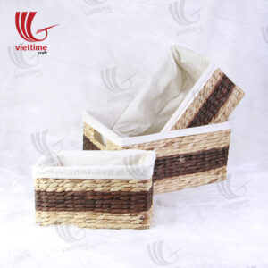 Water Hyacinth Basket With Cloth Set Of 3