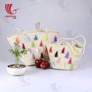 Palm Leaf Handbag With Colorful Tassel