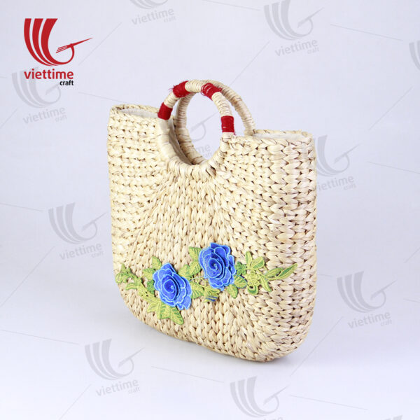 Flower Embroidered Water Hyacinth Basket Bag