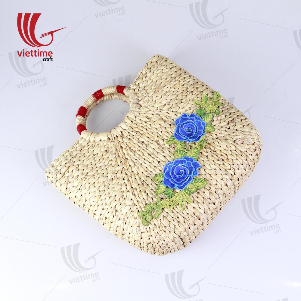 c17da03324e4 Flower Embroidered Water Hyacinth Basket Bag Wholesale / Viettime Craft