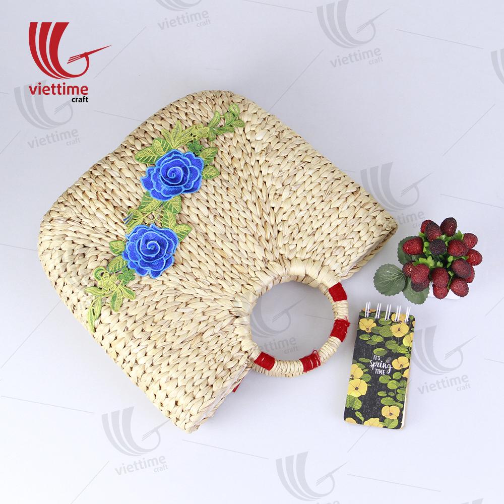 91193ffc3485 Flower Embroidered Water Hyacinth Basket Bag