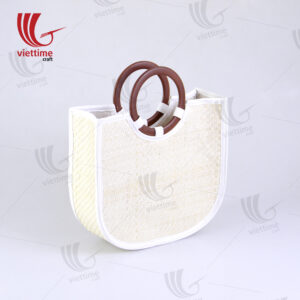 Palm Leaf HandBag With Round Brown Handle