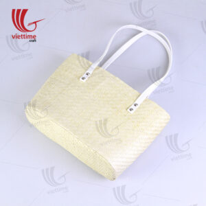 Palm Leaf Bag With White Leather Strap