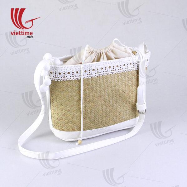 White Embroidered Shoulder Lepironia Bag