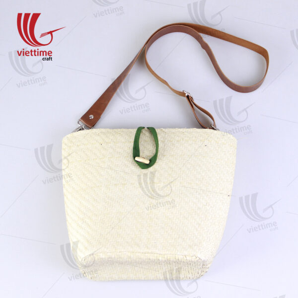 White Palm Leaf Bag With Leather Strap