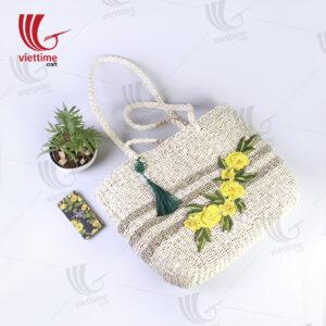 Flower Embroidered Palm Leaf HandBag
