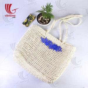 Blue Flower Embroidered Palm Leaf bag