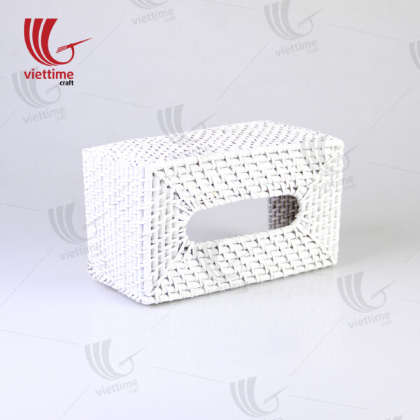 Rectangle White Rattan Tissue Napkin Box
