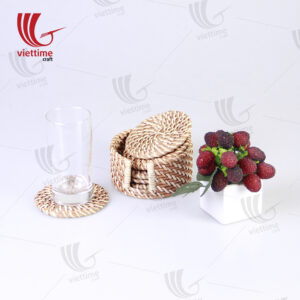 Round Brown Rattan Coaster For Table