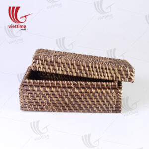 Brown Small Rattan Rectangle Storage Box