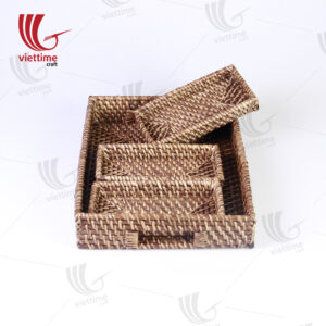 Rectangle Brown Rattan Tray Set Of 4 Wholesale