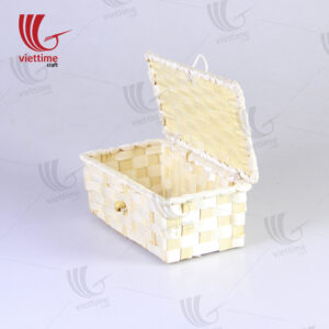 Rectangle White Weaving Bamboo Box