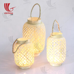 Woven Bamboo Lantern In Garden Set Of 3