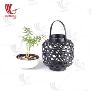 Small Black Weaving Bamboo Lantern In Garden