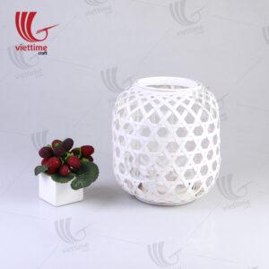 Small White Weaving Bamboo Lantern In Garden
