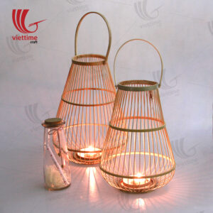 Natural Weaving Bamboo Lantern Set Of 2
