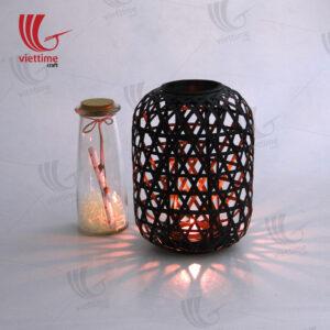 Black Weaving Bamboo Lantern On Balcony