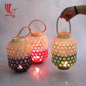 Small Weaving Bamboo Lantern In Garden Set Of 3