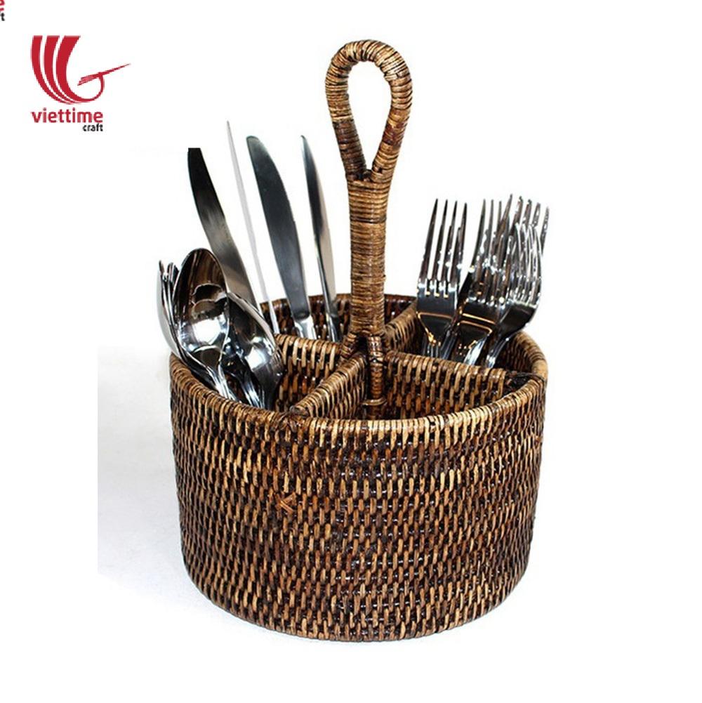Rattan Round Utensil Caddy Basket Wholesales | Viettime Craft