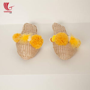 Water Hyacinth Slipper With Orange Pompom