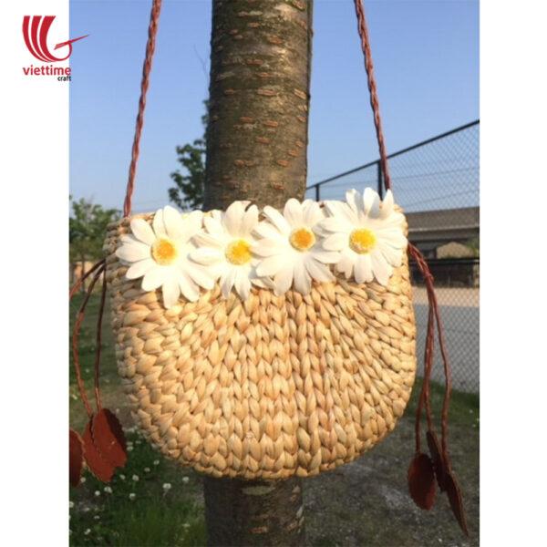 White Daisy Water Hyacinth Shoulder Bag