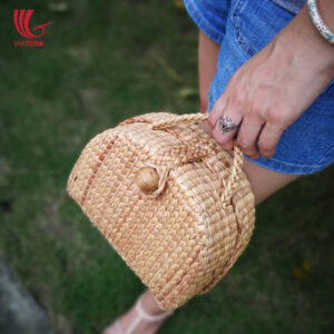 Box Shaped Water Hyacinth Clutch Bag