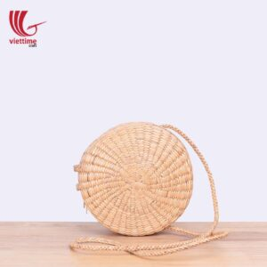 Round Water Hyacinth Wicker Shoulder Bag