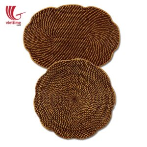 Beautiful Flower Brown Rattan Placemat Set Of 2