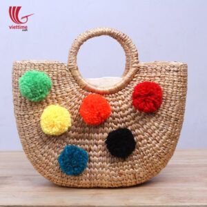 Water Hyacinth HandBag With Colorful Pompom