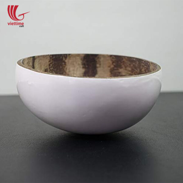 White Lacquered Outside Coconut Bowls