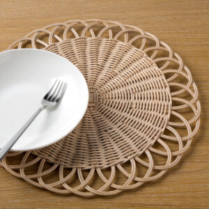 White Square Rattan Placemat For Meal Decoration