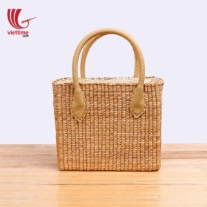 Nice Water Hyacinth Handbag With Leather Handle