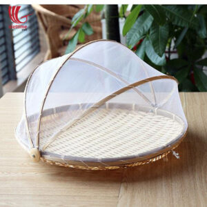 Round Bamboo Fruit Basket With Net Cover
