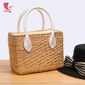 Water Hyacinth HandBag With White Leather
