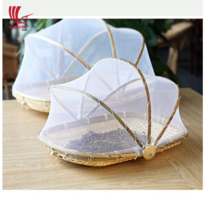Rectangle Bamboo Fruit Basket With Net Cover