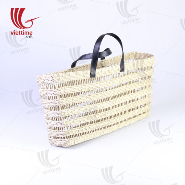 Seagrass Tote Shopping Bag With Leather Handle