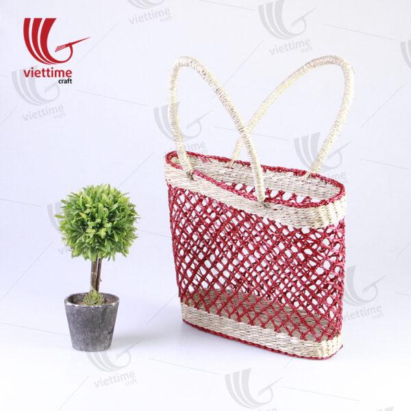 Beautiful Red Ladies Seagrass HandBag