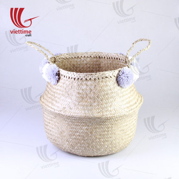 Natural Belly Seagrass Basket With 10 Pompom