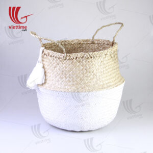 White Belly Seagrass Basket With White Tassel