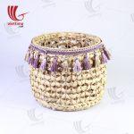 Round Water Hyacinth Bin With Tassel Set Of 3