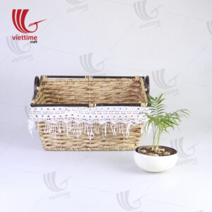 Water Hyacinth Storage Basket With Lace Fabric