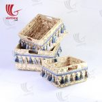 Water Hyacinth Basket With Tassel Set Of 3