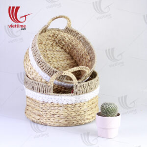 Round Water Hyacinth Basket With Lace Fabric