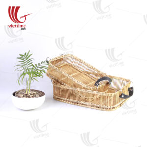 Rectangle Weaving Bamboo Tray Set Of 2